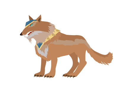 Fantastic battle riding wolf vector in flat style design. Fairy predator in armor model illustration for games industry concepts, icons and pictograms. Isolated on white background. Illustration