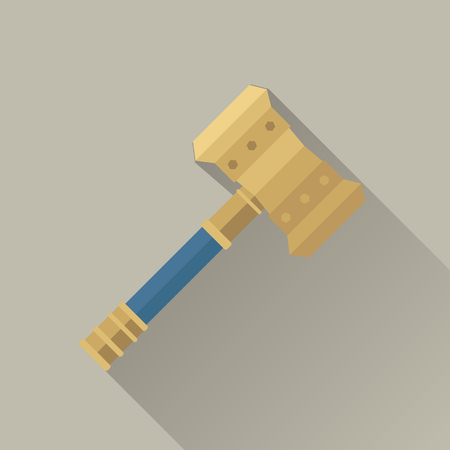teutonic: Hammer of Thor. Hammer of god. Weapon of major norse god associated with thunder. Weapon of viking. Game object in flat design isolated. Vector illustration.