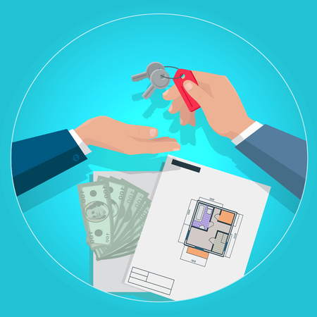 owner money: Real estate concept illustration in flat design. Realtor gives keys from apartments their new owner, plans and money in background. Illustration for real estate company advertising, housing concepts.