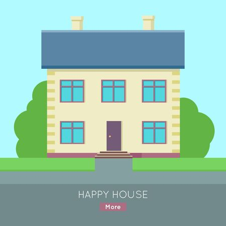 housing estate: Happy house vector web banner in flat style. Buying a new place for living. Cottage house with bushes and grass illustration for real estate company web page design, advertising, housing concepts.
