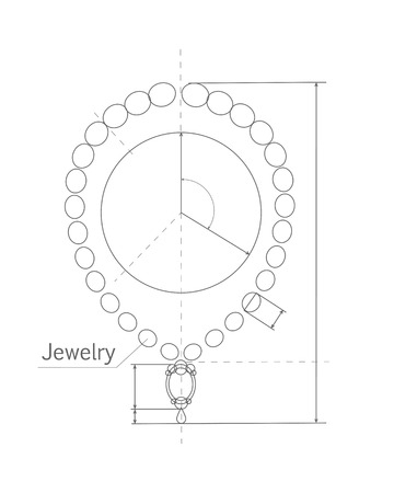 necklet: Jewerly production sketch. Jewelry designer works on hand drawing sketch of necklace. Draft outline of necklace design. Project of brilliant ornamental chain or string of beads, jewels, or links. Vector Illustration