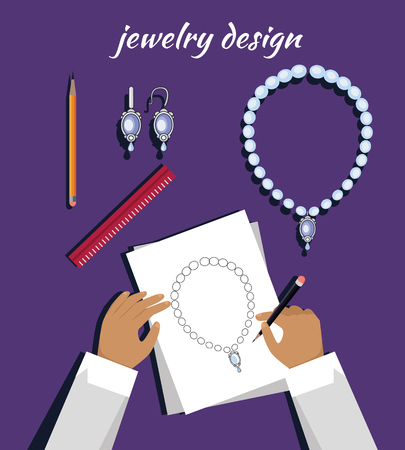 necklet: Jewerly production sketch banner. Jewelry designer works on hand drawn sketch of necklace and earrings. Draft outline of diamond unit design. Project of brilliant ornamental chain and earrings. Vector