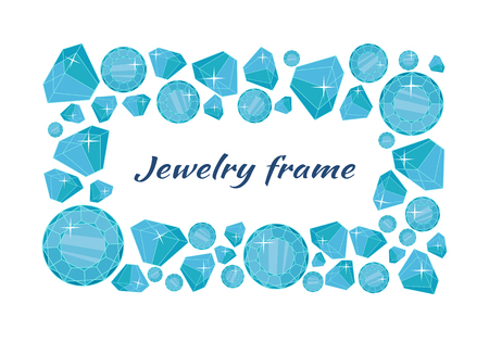 Jewelry frame vector concept in flat design. Precious gift. Sparkling, precious stones, gems and brilliants in different sizes. Illustration for jewelry store advertising. Isolated on white background Illustration