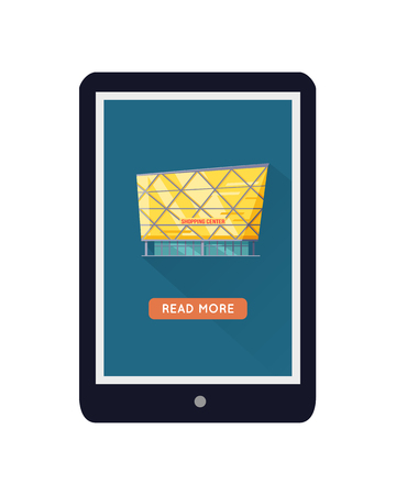 shopping centre: Shopping centre web page template on mobile device. Flat design. Illustration for web design, app icons, online shopping banners. Shop, shopping center, mall, supermarket, business center on screen
