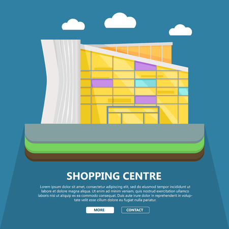 shopping centre: Shopping centre web page template. Flat design. Commercial building concept illustration for web design, banners. Shop, shopping center, mall, supermarket, business center background