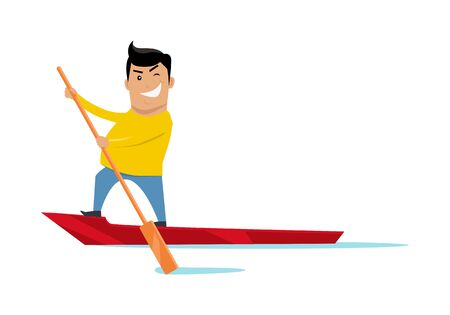 Sealing on boat vector. Flat style design. Water sport and entertainment. Summer vacation, escape from civilization, journey to Venice concepts. Smiling man on boat with a paddle in hand sailing.