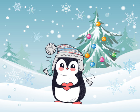 Penguin animal in hat and heart with winter landscape on the background. Funny polar winter bird banner poster greeting card. Cartoon character wild penguin in flat style design. Vector illustration Illustration