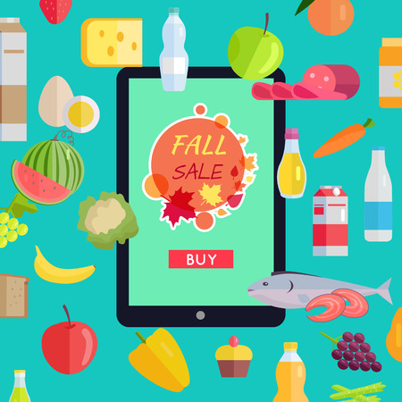 food market: Sale in online food market web banner. Vector in flat design. Autumn harvest. Various food, drinks and web page template on tablet with fall sale button on screen. Concept for grocery discount ad Illustration