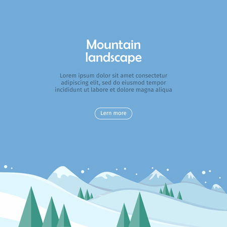 snow  snowy: Mountain landscape web banner. Skiing scenery design. Extreme hills in snowy outdoor high mountains. Sport season environment. Winter holiday resort activity. Blue sky and crystal white snow. Vector