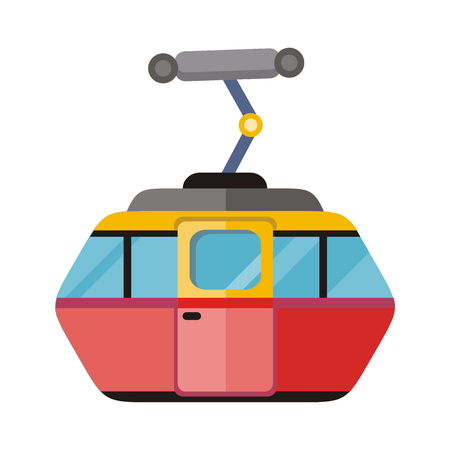 ropeway: Funicular railway, cable railway, cable car isolated on white. Ski lift, trolley car, transportation tourism, travel cabin, winter vacation, ropeway, elevator outdoor aerial. Cog railway Vector