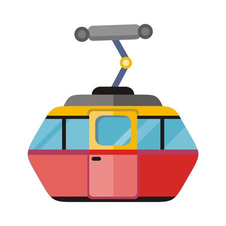 montañas nevadas: funicular, teleférico, funicular aislados en blanco. telesilla, tranvía, transporte turismo, cabina de viajes, vacaciones de invierno, de teleférico, ascensor antena exterior. Vector tren de cremallera