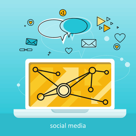 Laptop with infographics on screen. Laptop with infographics on blue background. Concept of social media, online business, commerce algorithm, business analysis, information. Business background Illustration