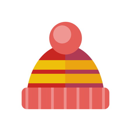 sheep wool: Winter red hat icon. Knitted winter cap. Head covering worn to protect against cold. Fashion accessory. Skier hat. Winter hat and cap. Flat icon winter hat cap. Sheep wool hat. Vector illustration Illustration