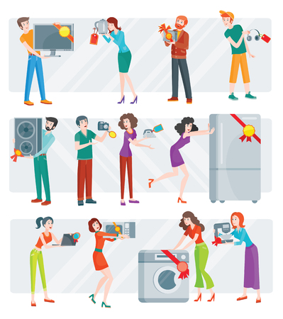 technic: Set of peoples on store sale. Flat design vector. Man and woman happy characters holding different goods with sale stickers on it. Home technic, electronic devices, clothes, perfumes shopping