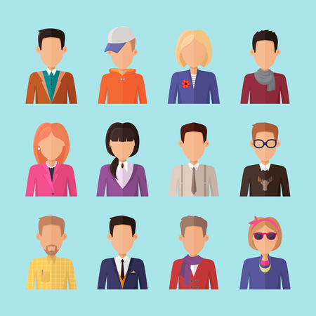 arbitrario: Conjunto de caracteres personas vectores imagen de usuario en el diseño plano. iconos femeninos y masculinos retrato. Ejemplos de identidad en Internet, conceptos, pictogramas de aplicaciones, infografía. Aislado en el fondo azul.