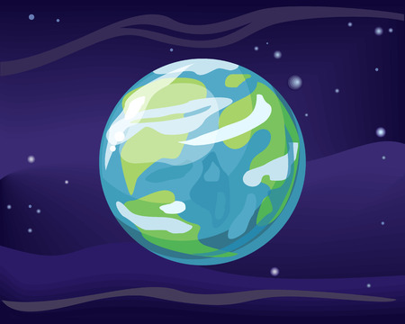 cosmo: Planet Earth in space star background. Element of solar system. Cosmic galaxy background with bright shining stars. Solar system. Isolated planet. Blue planet. Vector illustration. Illustration
