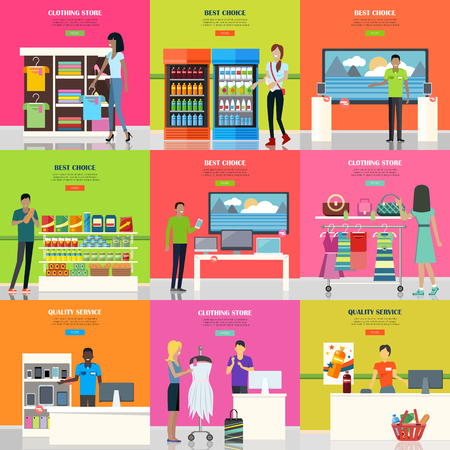 Set of advertisement posters. Shopping banner. Different stores of supermarket. People in supermarket interior design. Marketing people, market shop interior, customer in mall, retail store. Vector