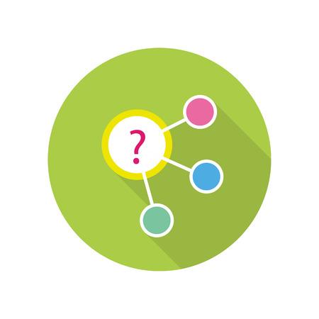 Strategic management icon. Algorithm scheme on green round background. Planning workflow, algorithm for development process, structure of operation. Vector illustration in flat design