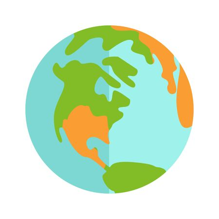 icon series: Earth icon sign isolated on white background. Population of the planet concept. People from different countries. Part of series of people of the world. Vector illustration in flat style symbol
