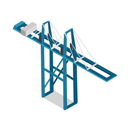 Container terminal isolated. Maritime container terminal. Inland container terminal. Facility where cargo containers are transshipped between transport vehicles, for onward transportation. Vector
