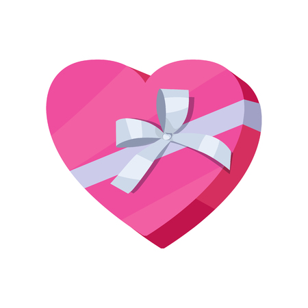 application button: Gift box in form of heart vector icon in flat style. Packaged with pink paper ribbon present illustration. For application button, infogpaphics elements, web design. Isolated on white background Illustration