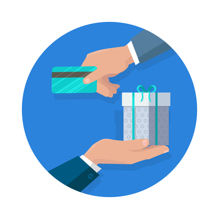 Buying gifts vector in flat design. Surprise in colored box with ribbon. Shopping, sales, discount concept. Man hands with packed present and credit card. For decoration, event management companies ad