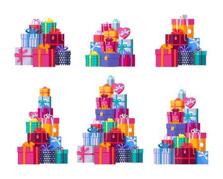Zes grote stapel van kleurrijke ingepakte geschenkdozen. Berggeschenken ingesteld. Mooie huidige doos met overweldigende boog. Geschenk box pictogramserie. Geschenk symbool. Kerst geschenkdoos. Geïsoleerde vectorillustratie Stock Illustratie