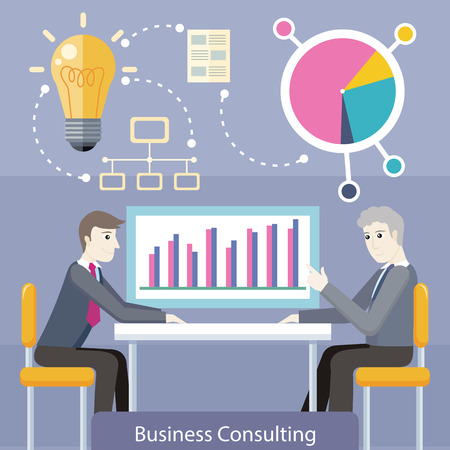 financial advice: Business consulting concept. flat style. Expert provides advice and analyzes the financial results of the client. Bulb, network, diagram icons. Illustration for consulting company, career courses ad