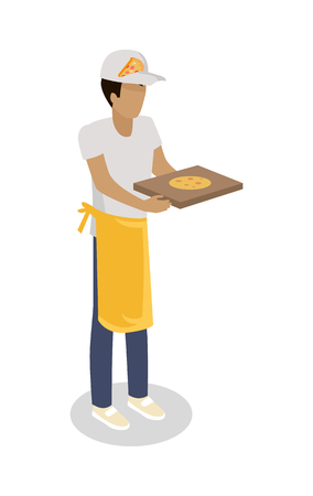 street vendor: Pizza seller with fresh cooked pizza isolated. Street food vendor. Italian food salesman. Food restaurant worker. Human market seller. Shop worker, chief face. Delivery man icon. Vector illustration