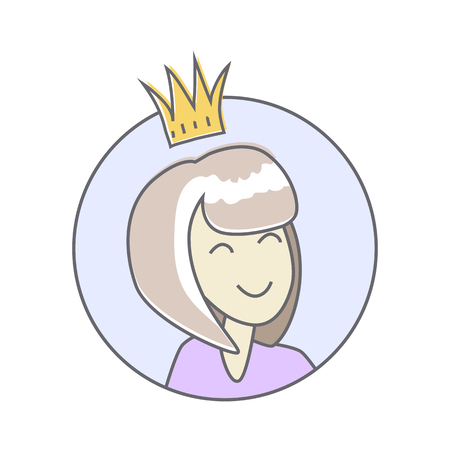Girl in crown avatar userpic isolated on white background. Office star. Best worker of the week month year. Leader in the office work. Person with the crown. Queen of the office. Vector illustration