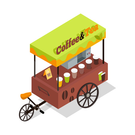 Coffee and tea trolley in isometric projection. Street fast food concept. Food truck with umbrella illustration. Isolated on white background. Hot refreshing tasty drinks beverages. Vector Illustration