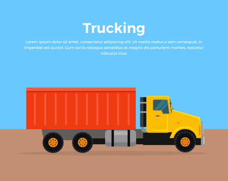 Trucking vector banner. Cargo concept in flat style design. City building. Illustration for cargo companies and services advertising. Transportation of goods and materials by heavy construction tipper.
