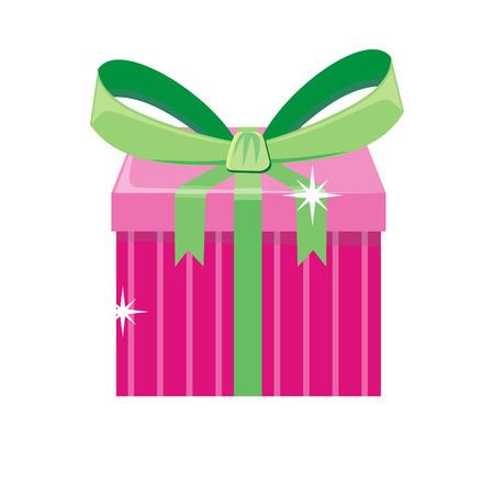 Doos van de Kerstmis de roze gift met groene geïsoleerde boog. Beeldverhaal huidig ??in het concept van de Kerstmisvakantie. Geschenkverpakking voor verjaardag of verjaardag. Grappige illustratie voor de viering van de kinderenvakantie. Vector