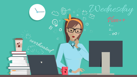overheated: Wednesday working day. Woman planning her work for a week. Girl writing a plan of her actions for a week. Part of series of daily routine of the week. Working hours, schedule. Vector illustration. Illustration