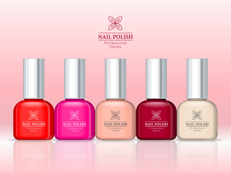 collection series: Nail polish professional series. Women accessories nail collection. Bright stylish modern colors. Glamour cosmetics. Manicure and pedicure products. Part of series of decorative cosmetics. Vector Illustration