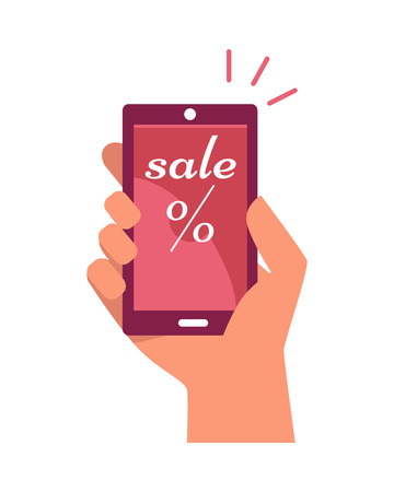 Mobile phone in hand with sale text and percentage sign. Concept of shopping via internet shop. Online and smartphone, web sale, e-commerce, business technology, convenience and mobile. Vector