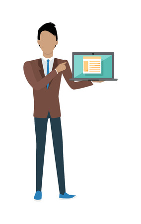 Standing man in brown jacket, blue pants and tie with laptop presents web infographic. Gray laptop with spreadsheet on blue screen. Website development project, SEO process information Illustration