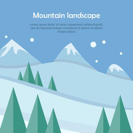 Berglandschap webbanner. Skiën landschap ontwerp. Extreme heuvels in sneeuw openluchthooggebergte. Sportseizoenomgeving. Activiteit wintervakantieoord. Blauwe lucht en kristalheldere sneeuw. Vector