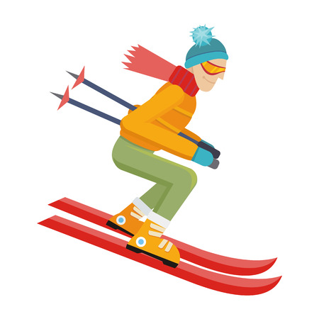 cross country skiing: Skier isolated on white. Person skiing flat style design. Skis isolated. Winter season recreation winter sport activity. Slalom sport ski race. Athlete on the downhill. Extreme speed skiing. Vector
