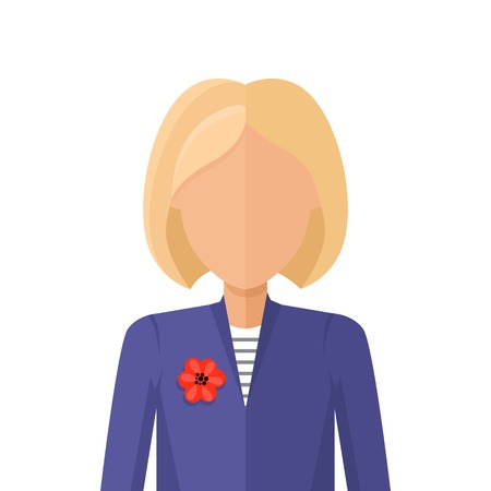 arbitrary: Woman character avatar vector in flat style design. Blond female personage portrait icon. Illustration for identity in Internet, concepts, app pictograms, infographic. Isolated on white background.