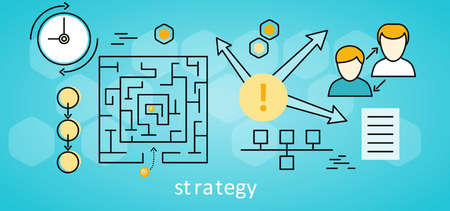 prototyping: Strategy business background with different suitable elements. Square labyrinth with yellow balls on blue background. Concept of online business, business analysis, business strategy, brainstorm Illustration