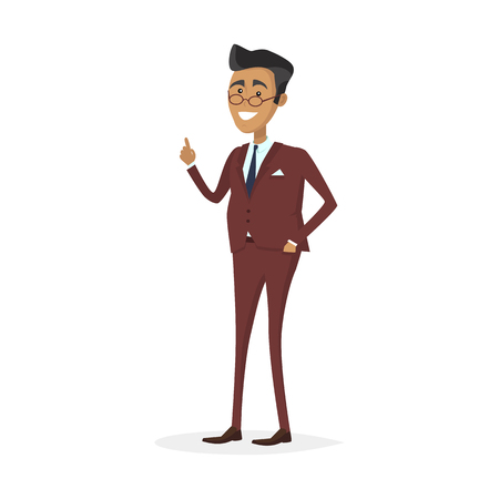 denote: Male character in business suit vector. Flat style design. Team leader, boss, expert, teacher, successful businessman illustration. Giving good advice concept. Man with raised finger up smiling.