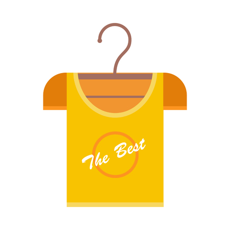 Orange t-shirt on a wooden hanger. T-shirt with lettering - The Best. Orange t-shirt template. Menswear. Isolated object on white background. Vector illustration.