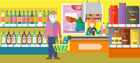 Homme dans le design d'intérieur du supermarché. Personne achète des boissons alcoolisées dans un magasin de vin d'élite. Aujourd'hui, le rabais est de vingt pour cent. Grande vente de boissons. Caissier assis à la caisse. Illustration vectorielle