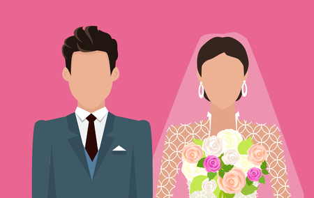 wedding bride: Wedding day web banner. Newlyweds couple design template. Beautiful young newly-married groom and bride isolated on red. Love people and wedding. Ceremony where two people united in marriage. Vector