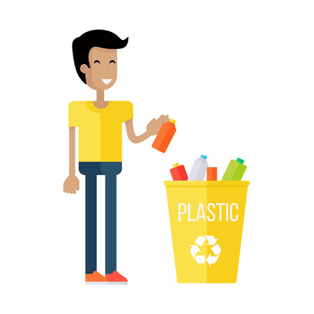 sorting out: Waste recycling concept. Boy in yellow t-shirt and blue pants taking out the trash in yellow recycle garbage bin with plastic. Sorting process different types of waste. Environment protection.
