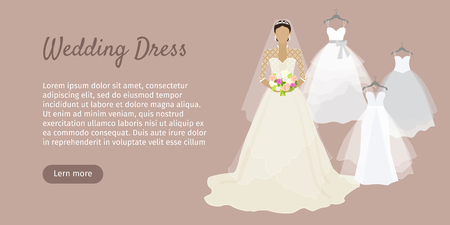 wedding dress: Wedding dress web banner. Fashionable bride shop poster. Celebration and shower, fabric and holiday, boutique and marriage, glamour woman, corset wear, luxury bouquet, princess. Bride dress. Vector Illustration
