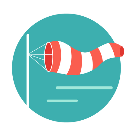 Meteorology windsock inflated by wind. Red and white windsock indicate the direction and strength of the wind. Conical textile tube. Used at airports, alongside highways at windy locations. Vector Illustration