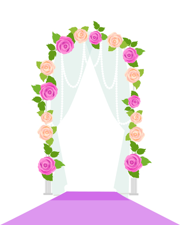 memorable: Wedding arc door with flowers isolated on white. Romantic gentle element for wedding design. Wedding decor fashion interior. Decoration with roses. Save the date archway. Memorable great day. Vector
