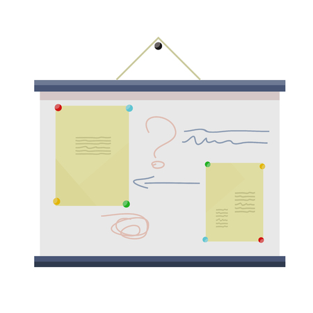 information  isolated: Whiteboard on the wall with information. Board at a presentation with information, scheme and list. On whiteboard show financial and analytical information. Isolated object in flat design